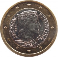 obverse of 1 Euro (2014 - 2016) coin with KM# 156 from Latvia. Inscription: LATVIJAS REPUBLIKA 2014