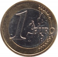 reverse of 1 Euro (2014 - 2016) coin with KM# 156 from Latvia. Inscription: 1 EURO LL