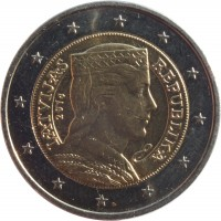 obverse of 2 Euro (2014 - 2015) coin with KM# 157 from Latvia. Inscription: LATVIJAS REPUBLIKA 2014