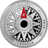 obverse of 5 Euro - Ainaži Nautical School (2014) coin with KM# 159 from Latvia. Inscription: AINAŽU 1864 2014 N NO O SO S SW W NW JŪRSKOLA