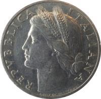 obverse of 1 Lira (1946 - 1950) coin with KM# 87 from Italy. Inscription: REPVBBLICA ITALIANA