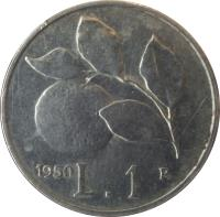 reverse of 1 Lira (1946 - 1950) coin with KM# 87 from Italy. Inscription: 1949 L.1 R