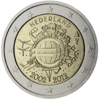 obverse of 2 Euro - Beatrix - 10 Years of Euro Cash (2012) coin with KM# 308 from Netherlands. Inscription: NEDERLAND A.H. € 2002 2012
