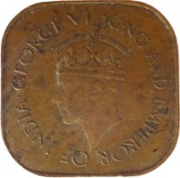 obverse of 5 Cents - George VI (1942 - 1945) coin with KM# 113 from Ceylon. Inscription: GEORGE VI KING AND EMPEROR OF INDIA