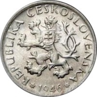 obverse of 1 Koruna (1946 - 1947) coin with KM# 19 from Czechoslovakia. Inscription: REPUBLIKA ČESKOSLOVENSKÁ 1946