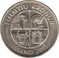 obverse of 50 Krónur (1987 - 2005) coin with KM# 31 from Iceland. Inscription: FIMMTÍU KRÓNUR ÍSLAND 2001
