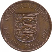 reverse of 2 New Pence - Elizabeth II - 2'nd Portrait (1971 - 1980) coin with KM# 31 from Jersey. Inscription: BAILIWICK OF JERSEY TWO NEW PENCE 1971