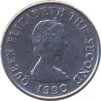 obverse of 5 Pence - Elizabeth II - Smaller; 2'nd Portrait (1990 - 1997) coin with KM# 56.2 from Jersey. Inscription: QUEEN ELIZABETH THE SECOND 1991