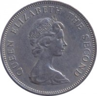 obverse of 10 New Pence - Elizabeth II - 2'nd Portrait (1968 - 1980) coin with KM# 33 from Jersey. Inscription: QUEEN ELIZABETH THE SECOND
