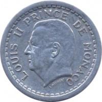obverse of 2 Francs - Louis II (1943) coin with KM# 121 from Monaco. Inscription: LOUIS II PRINCE DE MONACO L. MAUBERT