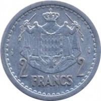 reverse of 2 Francs - Louis II (1943) coin with KM# 121 from Monaco. Inscription: 2 FRANCS 2 DEO JUVANTE