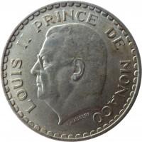 obverse of 5 Francs - Louis II (1945) coin with KM# 122 from Monaco. Inscription: LOUIS II PRINCE DE MONACO L. MAUBERT