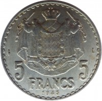 reverse of 5 Francs - Louis II (1945) coin with KM# 122 from Monaco. Inscription: DEO JUVANTE 5 FRANCS 5 1945