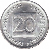 obverse of 20 Stotinov (1992 - 2006) coin with KM# 8 from Slovenia. Inscription: REPUBLIKA SLOVENIJA DVAJSET STOTINOV 20 1992
