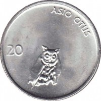 reverse of 20 Stotinov (1992 - 2006) coin with KM# 8 from Slovenia. Inscription: ASIO OTUS 20