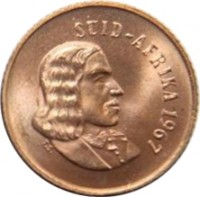 obverse of 1 Cent - SUID-AFRIKA (1965 - 1969) coin with KM# 65.2 from South Africa. Inscription: SUID-AFRIKA 1966 T.S.