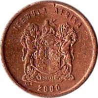 obverse of 1 Cent - ISEWULA AFRIKA (1997 - 2000) coin with KM# 170 from South Africa. Inscription: ISEWULA AFRIKA 1999 EX UNITATE VIRES ALS