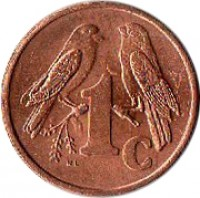 reverse of 1 Cent - ISEWULA AFRIKA (1997 - 2000) coin with KM# 170 from South Africa. Inscription: 1c WL