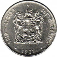 obverse of 1 Rand - SUID AFRIKA - SOUTH AFRICA (1977 - 1989) coin with KM# 88a from South Africa. Inscription: SUID-AFRIKA · SOUTH AFRICA EX UNITATE VIRES T.S. 1977