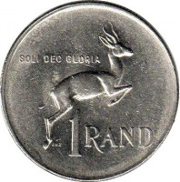 reverse of 1 Rand - SUID AFRIKA - SOUTH AFRICA (1977 - 1989) coin with KM# 88a from South Africa. Inscription: SOLI DEO GLORIA J.v.T 1 RAND