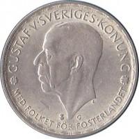 obverse of 1 Krona - Gustaf V (1942 - 1950) coin with KM# 814 from Sweden. Inscription: GUSTAF · V · SVERIGES · KONUNG MED · FOLKET · FOR · FOSTERLANDET G