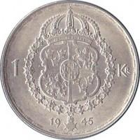 reverse of 1 Krona - Gustaf V (1942 - 1950) coin with KM# 814 from Sweden. Inscription: 1 KR 19 45