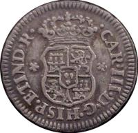 obverse of 1/2 Real - Carlos III (1760 - 1771) coin with KM# 68 from Mexico. Inscription: CAR * III * D * G * HISP * ET * IND * R