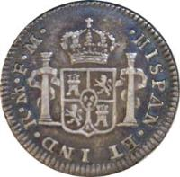 reverse of 1/2 Real - Carlos IV (1789 - 1790) coin with KM# 70 from Mexico. Inscription: HISPAN * ET * IND * R * M * FM