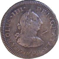 obverse of 1/2 Real - Carlos IV (1790) coin with KM# 71 from Mexico. Inscription: CAROLUS *IIII* DEI *GRATIA*