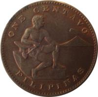 reverse of 1 Centavo - U.S. Administration (1937 - 1944) coin with KM# 179 from Philippines. Inscription: ONE CENTAVO FILIPINAS
