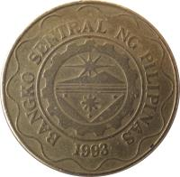 obverse of 5 Piso (1995 - 2014) coin with KM# 272 from Philippines. Inscription: BANGKO SENTRAL NG PILIPINAS 1993