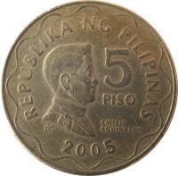 reverse of 5 Piso (1995 - 2014) coin with KM# 272 from Philippines. Inscription: REPUBLIKA NG PILIPINAS 5 PISO 1997 EMILIO AGUINALDO