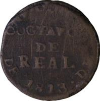 reverse of 1/8 Real (1812 - 1814) coin with KM# 60 from Mexico.