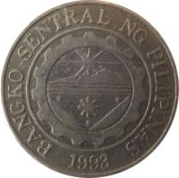 obverse of 1 Piso (1995 - 2003) coin with KM# 269 from Philippines. Inscription: BANGKO SENTRAL NG PILIPINAS 1993