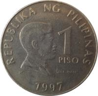 reverse of 1 Piso (1995 - 2003) coin with KM# 269 from Philippines. Inscription: REPUBLIKA NG PILIPINAS 1 PISO JOSE RIZAL 1997