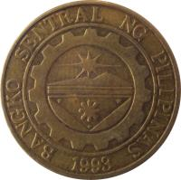 obverse of 25 Sentimo (1995 - 2003) coin with KM# 271 from Philippines. Inscription: BANGKO SENTRAL NG PILIPINAS 1993