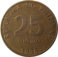 reverse of 25 Sentimo (1995 - 2003) coin with KM# 271 from Philippines. Inscription: REPUBLIKA NG PILIPINAS 25 SENTIMO 2001