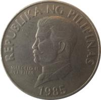 obverse of 50 Sentimo (1983 - 1990) coin with KM# 242.1 from Philippines. Inscription: REPUBLIKA NG PILIPINAS MARCELO H. DEL PILAR 1985