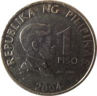 reverse of 1 Piso (2003 - 2015) coin with KM# 269a from Philippines. Inscription: REPUBLIKA NG PILIPINAS 1 PISO JOSE RIZAL 2006