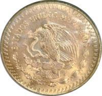 obverse of 1 Onza - Gold Bullion (1981 - 1988) coin with KM# 489 from Mexico. Inscription: ESTADOS UNIDOS MEXICANOS