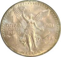 reverse of 1 Onza - Gold Bullion (1981 - 1988) coin with KM# 489 from Mexico. Inscription: 1 ONZA ORO PURO 1981 Mo MEXICO