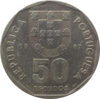 obverse of 50 Escudos (1986 - 2001) coin with KM# 636 from Portugal. Inscription: REPUBLICA PORTUGUESA 19 87 50 ESCUDOS E.VAZ