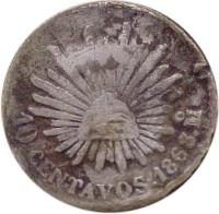 reverse of 10 Centavos (1867 - 1869) coin with KM# 402 from Mexico. Inscription: 10 CENTAVOS . 1868 P.