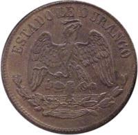 obverse of 1/4 Real (1872) coin with KM# 350 from Mexico. Inscription: ESTADO DE DURANGO