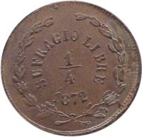 reverse of 1/4 Real (1872) coin with KM# 350 from Mexico. Inscription: SUFRAGIO LIBRE