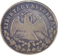 obverse of 1/4 Real (1867) coin with KM# 361 from Mexico. Inscription: ESTADO LIBRE Y SOBERANO DE S.L. POTOSI