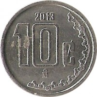 reverse of 10 Centavos - Smaller (2009 - 2015) coin with KM# 934 from Mexico. Inscription: 2009 10c Mo