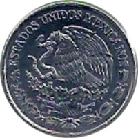 obverse of 20 Centavos - Smaller (2009 - 2015) coin with KM# 935 from Mexico. Inscription: ESTADOS UNIDOS MEXICANOS