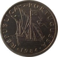 obverse of 5 Escudos (1963 - 1986) coin with KM# 591 from Portugal. Inscription: REPUBLICA PORTUGUESA 1986