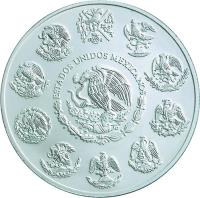 obverse of 5 Pesos / 1 Onza - Jaguar (2001) coin with KM# 658 from Mexico.
